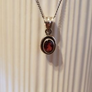 Jewelry - Genuine garnet and sterling silver pendant